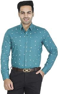 EL FIGO Men's Casual Full Sleeve Turquoise Color Cotton Printed Slim FIT Shirt