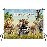 写真装飾バナー 野生動物の子供の誕生日パーティーの青い空と白い雲 背景写真ブース アフリカの草原 背景ビデオを撮影する 現代の