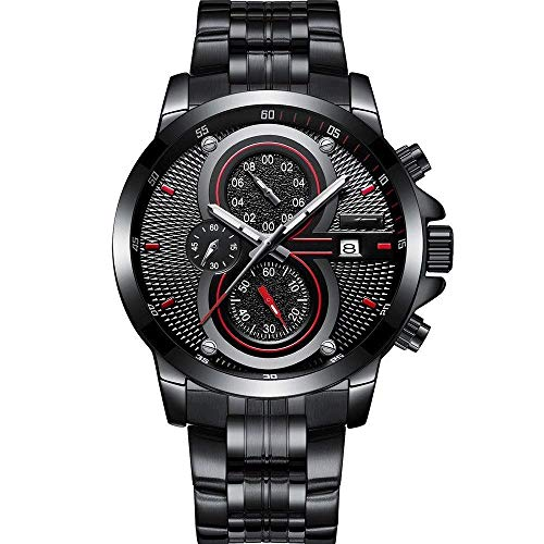 Thumby Praktische Horloges Sport Staal Horloge Mannen Horloge Multi-Functie Chronograaf Kalibratie Kleine Cirkel Mannen Arabische Numeralen Pols Decoratieve Horloge Armband Zwart