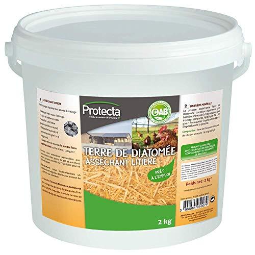 Protecta Terre de Diatomée spéciale poulaillers et élevage asséchant litière seau 2 kg