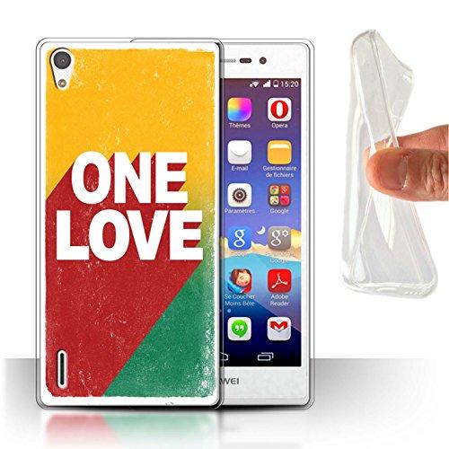 Stuff4® Gel TPU Hülle/Case für Huawei Ascend P7 LTE/One Love Poster Muster/Rasta Reggae Kunst Kollektion