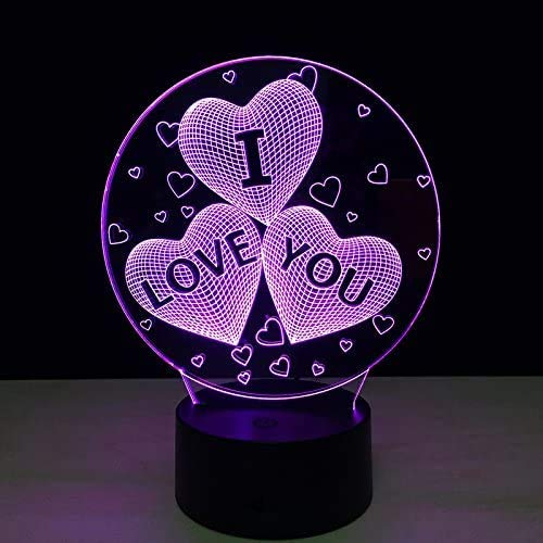 3D Love Heart Night Illusion Lamp, lampe de table de chevet 7 couleurs cadeaux de Noël et d'anniversaire pour enfants LED Night Light avec télécommande