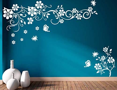 Heaven Decors Vinyl Flowers Wall Sticker, 37.4 x 0.39 x 23.22 Inches, White