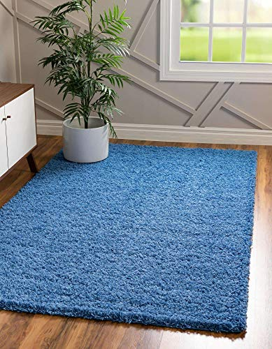 Unique Loom Solo Solid Shag Collection Modern Plush Periwinkle Blue Area Rug (5' 0 x 8' 0)