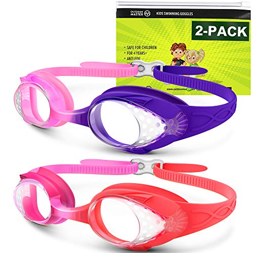 OutdoorMaster Kids Swim Goggles 2 Pack - Quick Adjustable Strap Swimming Goggles with Clear/Tinted Lens 3D SNUG Fit Design Anti-Fog Waterproof 100% UV Protection for Toddler Kids Age (3-15) -C