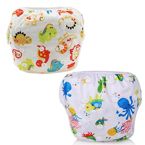 Z-Chen 2er Pack Baby Badewindelhose Schwimmwindel, Set 2