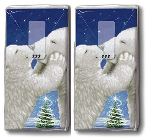 20 Taschentücher (2x 10) Taschentücher Kuschlige Eisbären/Tiere / Winter/Weihnachten