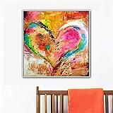 Geiqianjiumai Cartel de Amor Abstracto Lienzo Arte de la Pared Mural Sala de Estar Imagen Dormitorio decoración del hogar Moderna Pintura sin Marco 50x50 cm