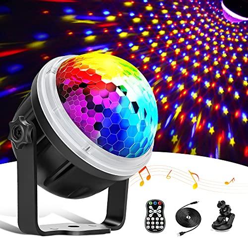 Discokugel,LED Party Lampe Partylicht mit Sternenmuster, 11 Farbe RGBY Musikgesteuert 4M USB, Disco Lichteffekte 360° Drehbares Discolampe mit Fernbedienung für Weihnachten, Party, Kinder