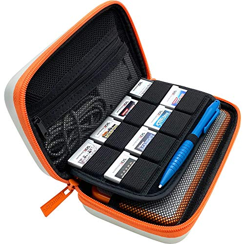 BRENDO Carrying Case for New Nintendo 2DS XL, 8 Game Cartridge Case Holder - White + Orange