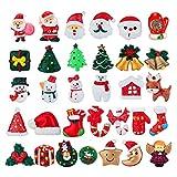 MELLIEX 32 Piezas Mini Adornos de Navidad, Resina Figuras en Miniatura Navideños árbol de Navidad Papá Noel ángel para Regalo, Calendario de Adviento, Tarjetas de Felicitación