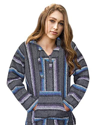 Mexican Baja Hoodie Sweater Sweatshirt Pullover Jerga (Small, Gray/Purple/Turquoise)