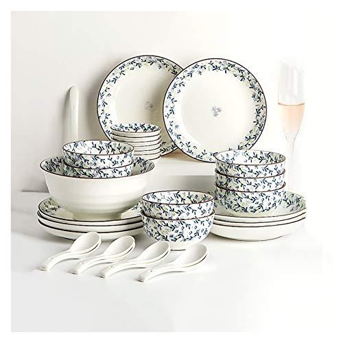 NYKK 30 Piezas de vajilla de cerámica de cerámica en el hogar, Elegante Planta Azul Flores Flores, Conjuntos de Platos, Conjuntos de Placas de Cena con Trazos Marrones Pintados a Mano