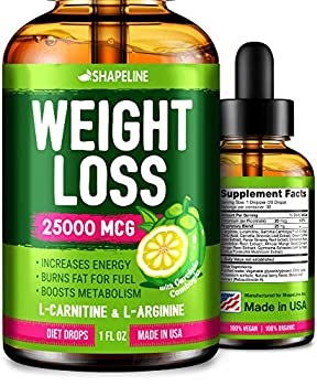 Weight Loss Drops - Appetite Suppressant for Women & Men - Made in The USA - Natural Metabolism Booster - Fast Weight Loss - Diet Drops with Garcinia Cambogia L-Arginine & L-Glutamine 1 Fl oz