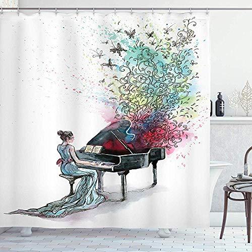wobuzhidaoshamingzi Musik-Duschvorhang, Flügel-Musik-Schmetterlings-dekorativer Pianist wirbelt Vintages Bild-Muster, aquamarines grünes Rot