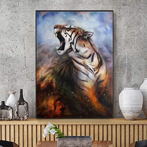 Malowanie DIY według numerów Animal Lion Wolf Tiger Art Painting Malarstwo abstrakcyjne Obrazy skandynawskie DIY obraz olejny Z pędzelkiem i farbą akrylową farba dla dorosł40x50cm(Bezszkieletowy)