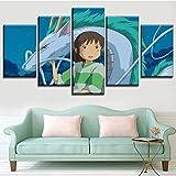 WEIGENG Paneles de Lienzo, 5 Piezas de Chihiro y dragón, póster de Anime de El Viaje de Chihiro, Pintura Decorativa para Dormitorio Moderno, Cuadro Modular