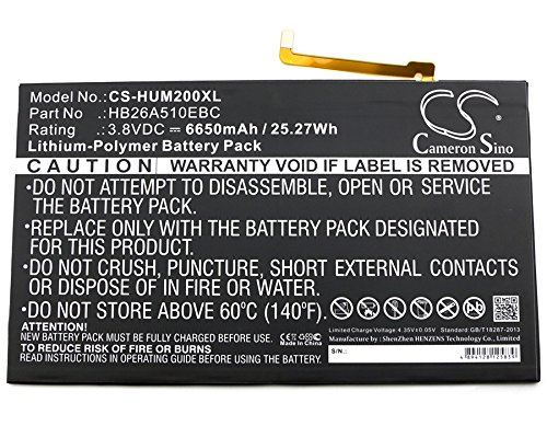 CS-HUM200XL Batería 6650mAh Compatible con [Huawei] BAH-L09, FDR-A01w, FDR-A03L, M2-A01L, M2-A01W, M3 Lite 10, Mediapad M2 10.0, Mediapad M2 10.0 Premium Edition, Mediapad M2 10.0 Standard Edition Wi