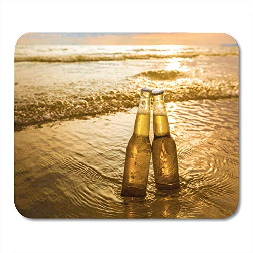 Semtomn Mouse Pad Gummi Mini Rechteck Gelb Liebe Flaschen Bier Strand bei Sonnenuntergang Zeit Sand Mousepad Smooth Gaming Notebook Computer Zubehör Backing
