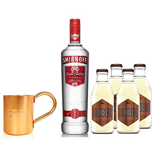 Moscow Mule Set - Smirnoff Vodka 0,7l 700ml (40% Vol) + 4x Goldberg Intense Ginger 200ml + Smirnoff Mule Becher - Inkl. Pfand MEHRWEG