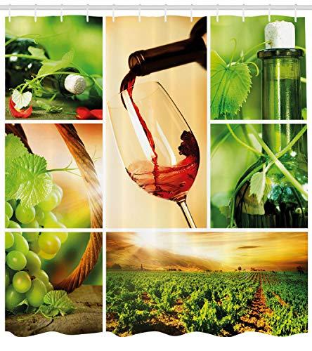 Cata de vinos Vid Cortina de Ducha Impermeable Decorativa con impresión HD, Adecuada para baño, 12 Ganchos Gratis, 180x180cm