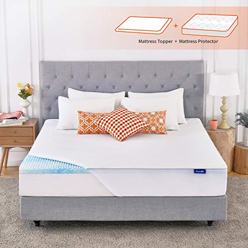 Sweetnight Mattress Topper Queen Size with Waterproof Mattress Protector, 2 Inch Cooling Egg Crate Gel Memory Foam Topper Ultra Plush, Plus 4 Bed Sheet Holder Straps, Queen Size