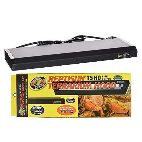 DBDPet Reptisun 14' T5HO Terrarium Hood Light Fixture & Free 5.0 UV-B Bulb - Includes Attached Pro-Tip Guide - Great for Small Reptiles, Chameleons, Geckos, and More!