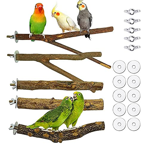 Soskakiist Pack of 5 Natural Birds Perches Parrot Perches Wooden Bird Perch Stand Bird Cage Perch Accessories Budgies Accessories with Mounting Parts