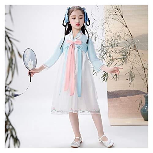 LUOSI Disfraz de hada Hanfu para niños, ropa tradicional, vestido de princesa, disfraz de danza popular antigua, disfraz de danza femenina (color: estilo M, tamaño: 110 cm)