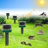 [4 unidades] repelente solar de topos ultrasónico, repelente de topos con protección resistente al agua, repelente de moles, ahuyentador de animales, control de topos, control de plagas para el jardín