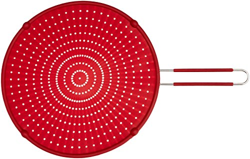"ExcelSteel 13"" Silicone Splatter Screen w/Non-Slip Grip, Red"