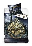 Harry Potter HP202019 - Juego de funda nórdica y funda de almohada (140 x 200 cm y 60 x 70 cm, algodón)