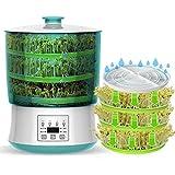 LTLWSH Germinador,Bandejas de Semillas eléctrico, Bandeja Brotar de Semillas Natto, Vino de arroz, máquina de Yogurt Doble Capa de Hidropónica Bandeja de Germinación para Semillas,3 Layer