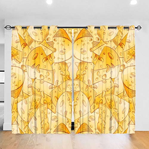 HelloWorldA Cheese Slices Blackout Curtains Thermal Insulated Grommet Curtains 2 Panels 52 X 72 in