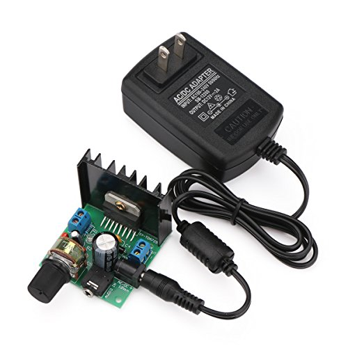 DROK Micro Stereo Amplifier Amplify Board 6V to 18V Power Supply Digital Amp Module Electro Portable Ampli Dual Channel 15W+15W with 12V 2A Switch Power Supply Adapter Voltage Regulator