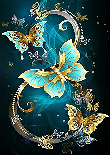 DIY 5D Diamond Painting Kits by Number,Diamond Paintings for Adults Kids,Cross Stitch Full Drill Crystal Rhinestone Embroidery Arts Craft for Home Wall Decor Gift (Butterfly 12x16inch)