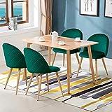 CLIPOP Juego de 4 sillas de Comedor de Terciopelo con Respaldo y Patas de Metal Resistente de Estilo de Madera para salón, Sala de Estar, Cocina, Oficina y Restaurante, Verde