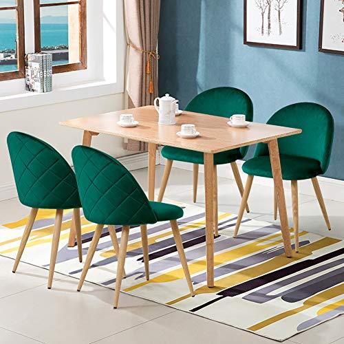 CLIPOP Juego de 4 sillas de Comedor de Terciopelo con Respaldo y Patas de Metal Resistente de Estilo
