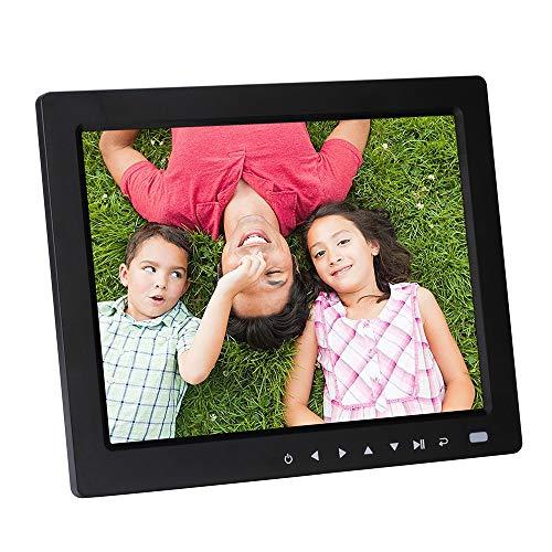 TLgf 10,4-Zoll-Digital-Bilderrahmen-HD-LED-Bilderrahmen für Videos, Unterstützung für MP3 / Kalender/Uhr/E-Book, Fernbedienung inklusive Funktion,Black