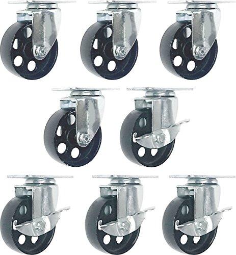 FactorDuty 8 All Steel Swivel Plate Caster Wheels w Brake Lock Heavy Duty High-Gauge Steel (3' Combo)