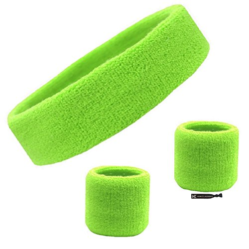Kenz Laurenz Sweatband Set Cotton Sports Headband Terry Cloth Wristband Moisture Wicking Sweat Absorbing Head Band Athletic Exercise Basketball Wrist Sweatbands and Headbands (Neon Green)