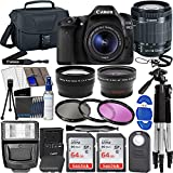 Canon EOS 80D DSLR Camera Body + Canon EF-S 18-55mm + Wide Angle Lens + Telephoto Lens + 3 Pc Filter Kit + 2 Pc 64GB Memory Card + Accessory Bundle