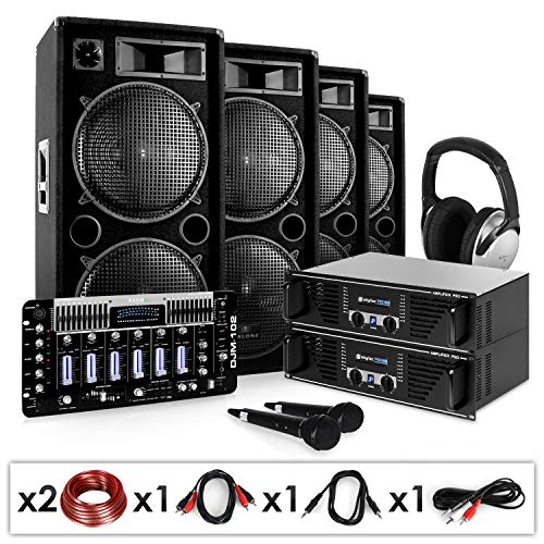 Electronic Star Set para DJ PA Bass First Pro 4000 W - 2 Amplificadores , 4 Altavoces de 2 Niveles , Mixer de 4 Canales , 2 Micrófonos , Auricular de DJ , Sin Bluetooth , Negro