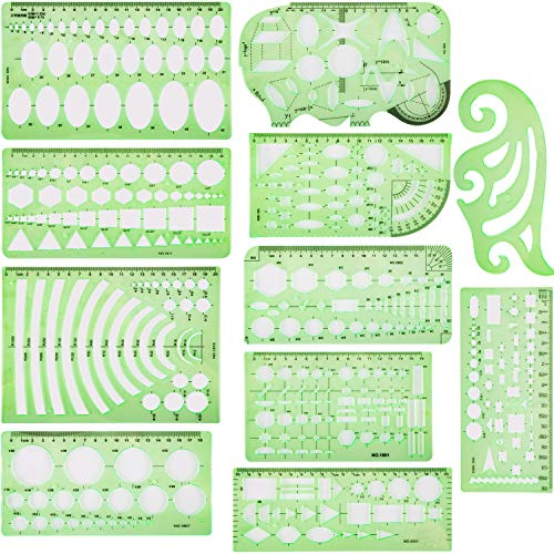Nicunom 11 Pieces Plastic Geometric Drawings Templates Stencils Plastic Measuring Rulers with 1 Pack Poly Zipper Envelope for School Office Supplies Engineering Drafting Building Formwork, Clear Green