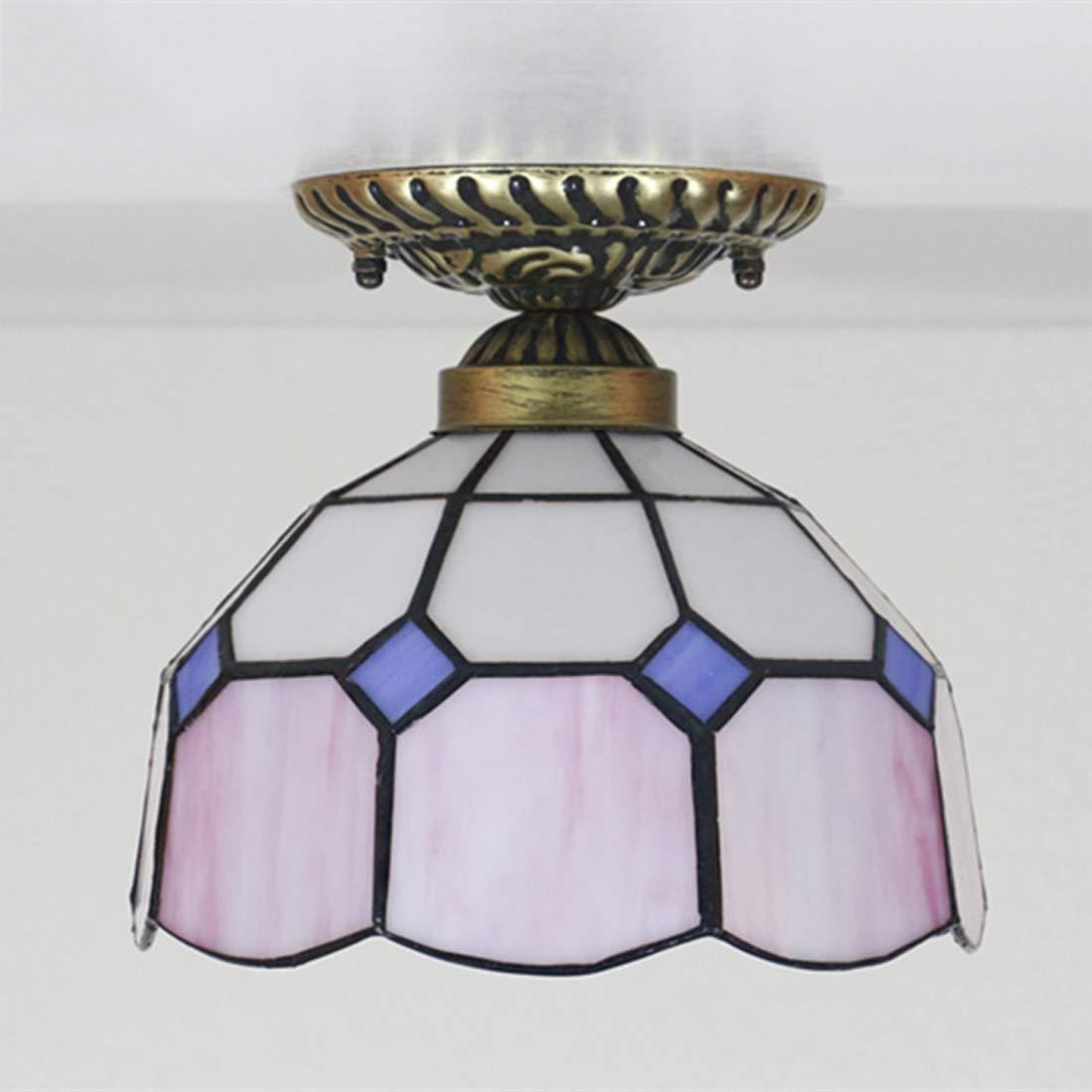 Lámpara empotrable de techo estilo Tiffany, montaje empotrado, luz de techo mediterránea, color de 8 pulgadas, lámpara de araña con escalera de bar, E27 X 1, 111-240V,D: Amazon.es: Iluminación