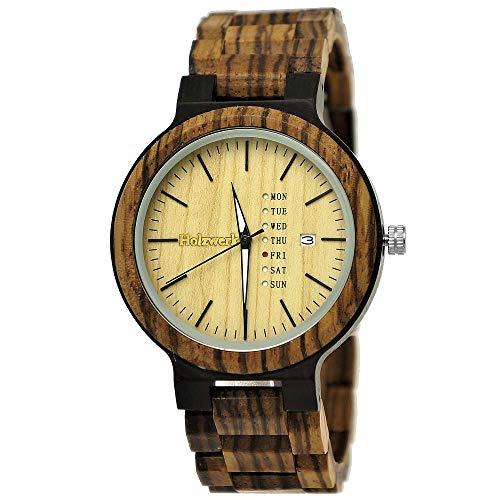 Handgemaakt houtwerk Germany® Matrix herenhorloge eco natuurlijke houten klok houten horloge bruin zwart zebra patroon analoog kwartshorloge datum en dag van de week