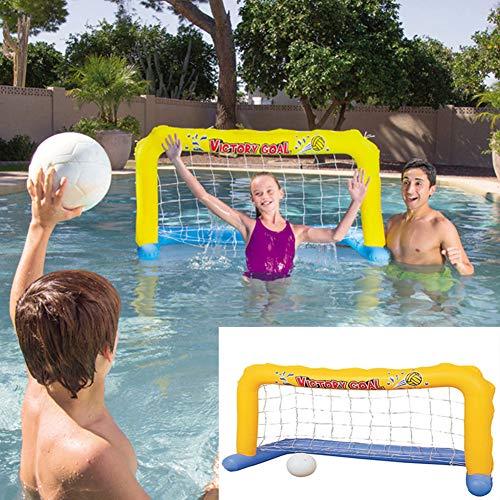 XIALIUXIA Aufblasbares Fußballtor Handball Wasserballspiel, Wassertor Wasserballtor Aufblasbar Set Mit Nylonnetz Und Ball Wasserball Gelb Für Pool