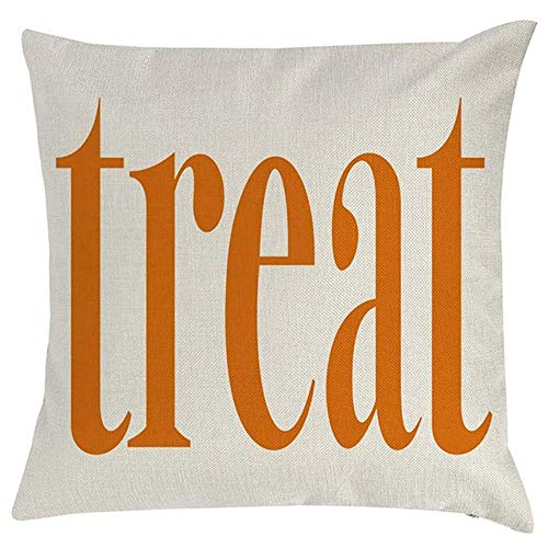 Z&HA Trick or Treat Pumpkin Halloween Throw Pillow Covers Cotton Linen Decorative Pillowcases Cushion Case for Couch Patio, 18x18 Inch,B