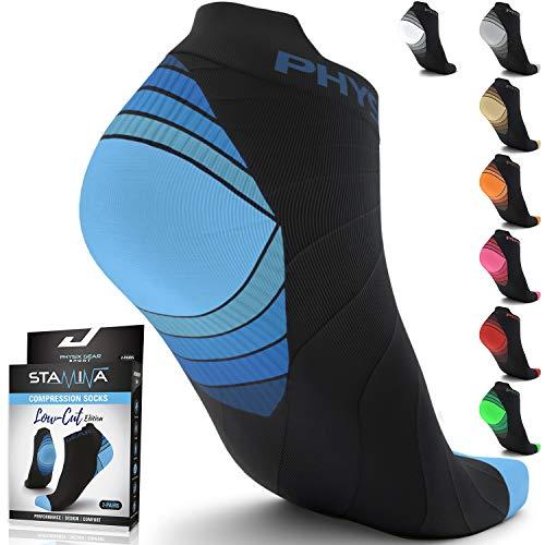Compression Running Socks for Men & Women Plantar Fasciitis - 2PAIR BLK BLU S/M