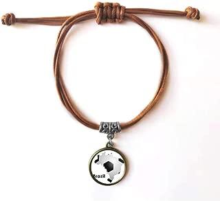 DIYthinker Soccer Brazil Map Shape Brazil Slogan Bracelet Leather Rope Wristband Brown Jewelry